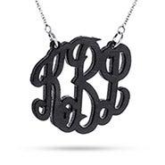 Black Maple Wood Carved Monogram Necklace