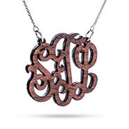 Walnut Wood Carved Monogram Necklace