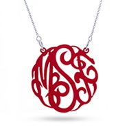 Red Acrylic Monogram Necklace