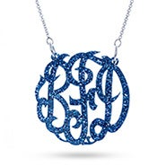 Blue Glitter Acrylic Monogram Necklace