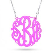 Fluorescent Pink Acrylic Monogram Necklace
