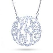 White Glitter Acrylic Monogram Necklace