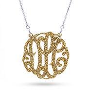 Gold Glitter Acrylic Monogram Necklace