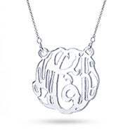 Silver Mirror Acrylic Monogram Necklace