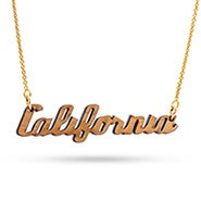 Cherry Wood California Necklace with Gold Chain