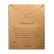 Dogeared Sister Gold Dipped Hummingbird Necklace