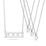 Engravable Mother Daughter 3 Child Name Bar Pendant Set