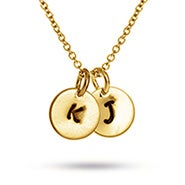 Hand Stamped Double Charm Gold Plated Initial Necklace