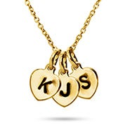 Hand Stamped Gold Plated Triple Heart Charm Initial Necklace
