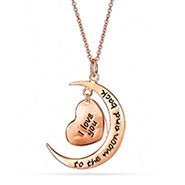 Engravable I Love You To The Moon and Back Rose Gold Heart Charm Necklace