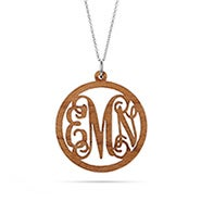 Script Wood Carved Monogram Necklace