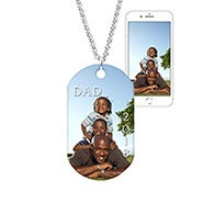 Custom Father's Day Color Photo Dog Tag Necklace