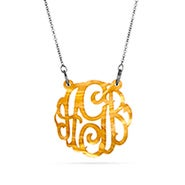 Gold Marble Acrylic Monogram Necklace