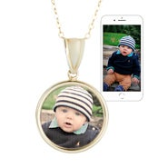 Petite Round Gold Bezel Frame Color Photo Pendant