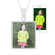 Custom Color Photo Silver Rectangle Bezel Frame Pendant