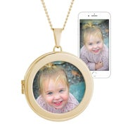 Round Custom Color Photo Gold Locket