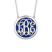 Enamel Script Monogram Disc Necklace in Silver