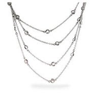 Designer Style Sparkling 60 Inch CZ Studded Chain