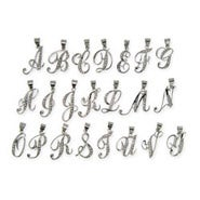Sterling Silver Cubic Zirconia Cursive Initial