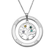 3 Stone Personalized Birthstone Family Tree Necklace