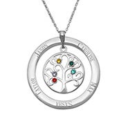 5 Stone Engravable Birthstone Family Tree Necklace
