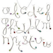 Custom Designer Style Sterling Silver Birthstone Initial Necklace