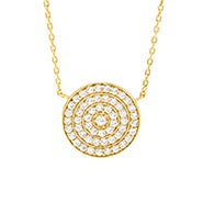 Gold Round Pave CZ Necklace