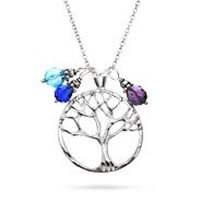 Silver Tree of Life Necklace with Dangling Birthstones