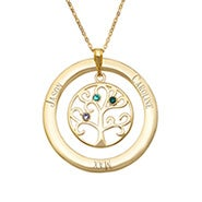 3 Stone Engraved Gold Vermeil Birthstone Family Tree Necklace