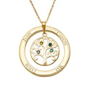 4 Stone Engraved Gold Vermeil Birthstone Family Tree Pendant