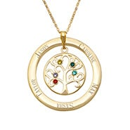 Engravable Gold Plated 5 Stone Family Tree Necklace