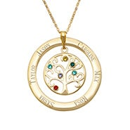 6 Stone Engraved Gold Vermeil Birthstone Family Tree Pendant