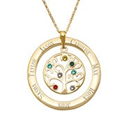 7 Stone Engraved Gold Vermeil Birthstone Family Tree Pendant