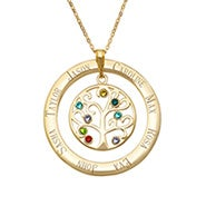 8 Stone Engraved Gold Vermeil Birthstone Family Tree Pendant