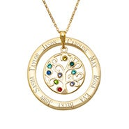 9 Stone Engraved Gold Birthstone Family Tree Pendant