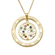 10 Stone Engraved Gold Vermeil Birthstone Family Tree Pendant