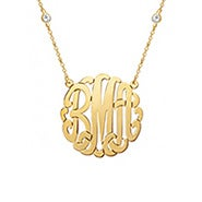 CZ Studded Chain Gold Monogram Necklace