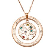 6 Stone Engraved Rose Gold Plated Birthstone Family Tree Necklace