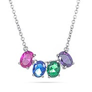 4 Stone Oval Birthstone Silver Necklace