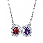2 Stone Halo Oval Birthstone Necklace