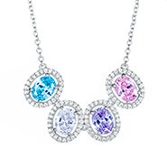 4 Stone Halo Oval Birthstone Necklace