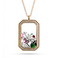Gold CZ Dog Tag Build A Charm Floating Locket