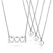 Mother Daughter 3 Birthstone Heart Necklace Set