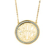 Birthstone Monogram Necklace in Gold