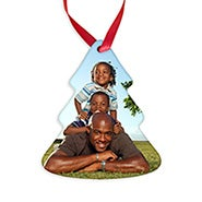 Tree Shaped Holiday Personalized Photo Ornament