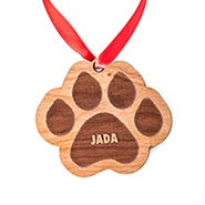 Paw Print Personalized Wooden Holiday Ornament