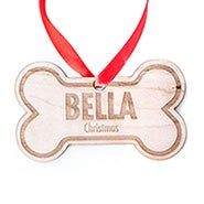 Personalized Dog Bone Wood Holiday Ornament