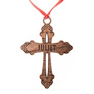 Custom Ornate Cross Wood Ornament