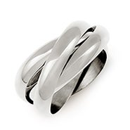 Designer Style Sterling Silver Triple Roll Russian Wedding Ring