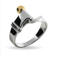 Designer Style Sterling Silver Hook and Eye Ring